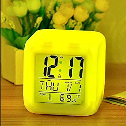 Fashion Mystery Square Color Changing Digital LCD Alarm Table Desk Clock  with Calender Time Temperature Lights