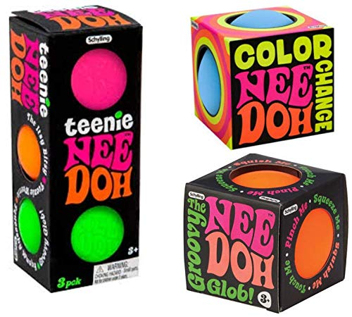 Schylling Nee Doh Stess balls: Teenie, Color Change And The Groovy Glob. One Of Each - The Perfect Bundle!. Bonus E - Book Included