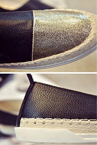 Espadrillas Basse Donna Ballerine Slipper Leather Metallico Piatto Scarpe Nero Bianco (Argento Oro) 35-39 Nero Oro 40