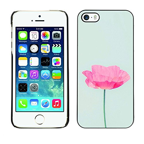 Soft Silicone Rubber Case Hard Cover Protective Accessory Compatible with Apple iPhone? 5 & 5S - flower blue pink nature love