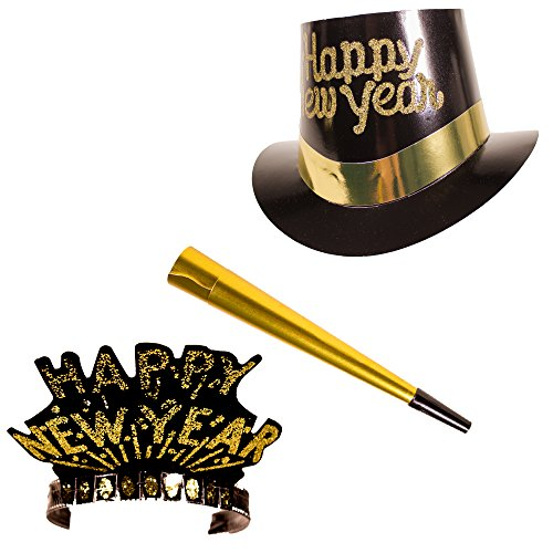 New Years Black & Gold Party Kit for 10 - Includes 10 Golden Plastic Horns, 5 Tops and 5 Tiaras - Happy New Year Top Hat