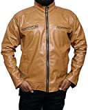 Outlook collection Men Zip Up Stand Collar Leather Jacket Medium size Skin Color