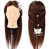 Training Head, Neverland Professional 22 Inch Long Hair 80% Real Hair Cosmetology Mannequin Training Head with Clamp for Students Practing Makeup/Hairdressing
