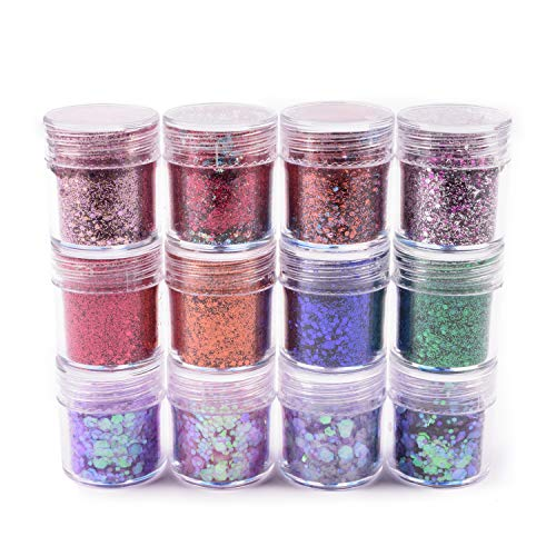 Allwon 12 Boxes Body Glitter Mermaid Dreams Chunky Glitter Sequins Iridescent Flakes Sparkles for Face Eyes Body Hair Nail Art,10ml