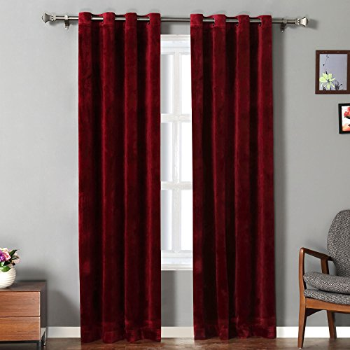 RHF Super Soft Velvet Curtain - Solid Matt Heavy: Velvet Curtains-Drape Panel Super Soft Handfeel Luxury Nickel Grommet Curtains for Living Room / Bedroom / Home Theatre (W50 x L84 inches: Burgundy) (Panels Velvet)