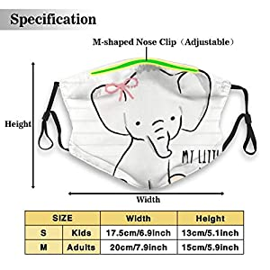 ZVEZVI My Little Baby Elephant Tshirt Graphics Mouth Mask Can Replace Activated Carbon Filter M Nose Clip Dust Mask…