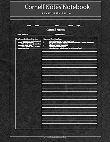 Cornell Notes Notebook: cornell notes composition notebook ,cornell notes paper Premium weight 8.5 X 11 White Paper with 12 0 sheets per notebook. ... notes paper 8.5