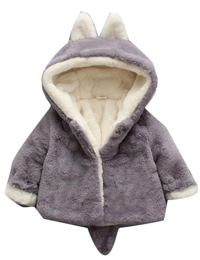 Pandapang Girl Thicken Warm Hooded Faux Fur Lined Fleece Jacket Parka Coat