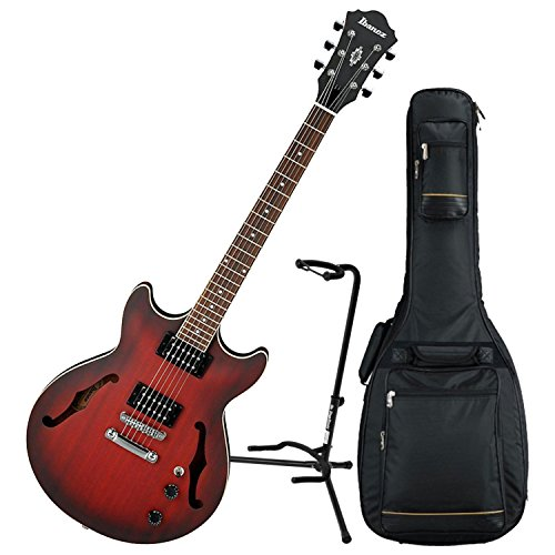 Ibanez AM53 Semi-Hollow Electric Guitar (Sunset Red Flat) w/ Padded Gig Bag and Stand (Hollow Ibanez Guitar)
