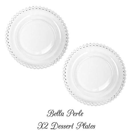 Set de 2 platos de postre de cristal BELLA Perle borde con cuentas utilizado por Celebrity