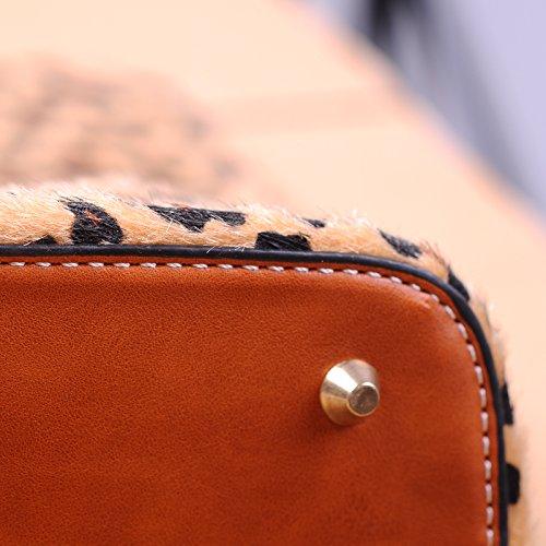 PU Patchwork Handbag Short-fur Velour Cheetah Shell Bag Leopard Shoulder Bag Short Fur