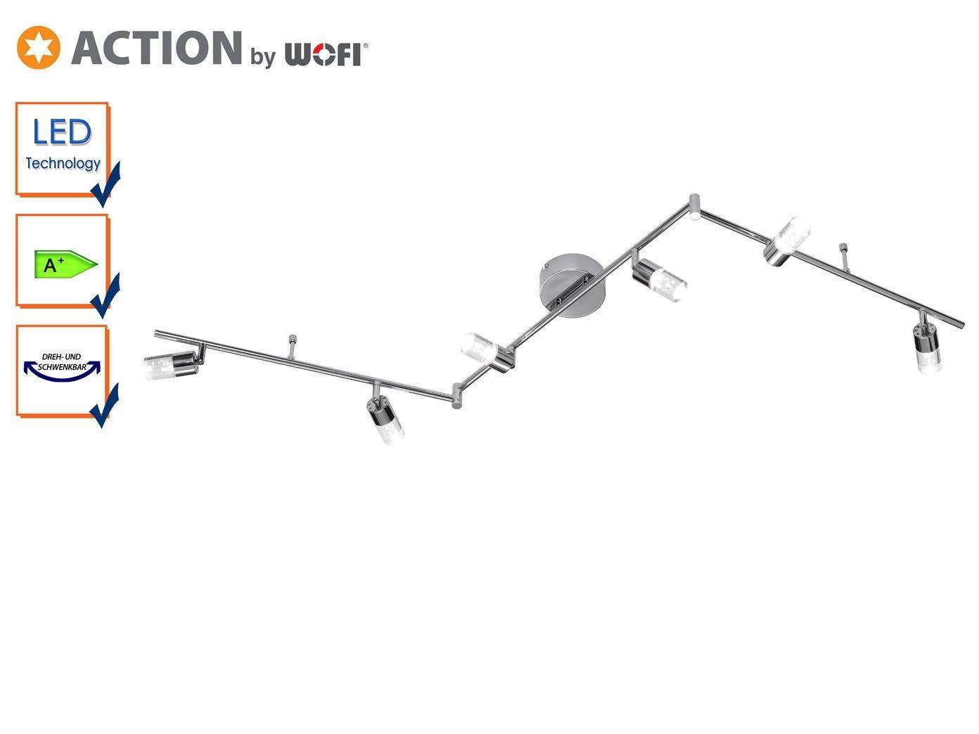 Action vigas, 6-lámpara de techo aluminio 6 x LED/5 W, 9 x 20, 5 x 194 cm, 3000 K, 400 lm, eficiencia energética de clase a vigas +, 6-lámpara de techo ...