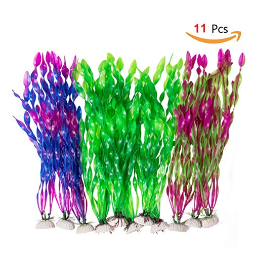CousDUoBe 11 Pack Artificial Seaweed Decor,Used for Household and Office Aquarium Simulation Plastic Seaweed Water Plants(12 inches) ()