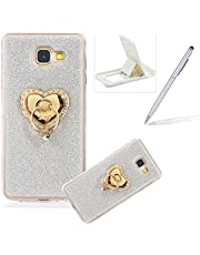 Cover for Samsung Galaxy A5 2017,Rubber Case for Samsung Galaxy A5 2017,Herzzer Super Slim [Silver Gradient Color Changing] Dust Resistant Soft TPU Bling Glitter Protective Case with 360 Degree Ring Grip Holder Stand