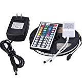 NEWSTYLE 16.4ft Waterproof SMD 3528 RGB 300 Leds Color Changing LED Flexible Strip Light + 44 Keys Remote Controller + Power Supply