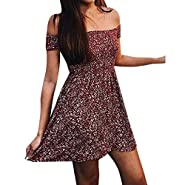 Women's Casual Tank Dress Summer Beach Sleeveless Sundress Floral Mini Dress