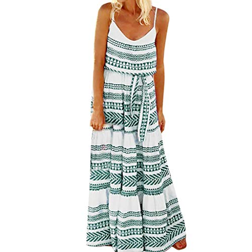 Summer Womens Breathable Loose Comfy Long Dress,2019 New Outdoor Striped Strap Sexy Floral Print Maxi Beach Dress (Green, S) (Best Ranch Dressing 2019)