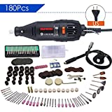 Impact Drill Metal Grinder, 130W Skill Hammering Drilling Machine Rotary Tool Kit, 180pcs Multi Purpose Advance Mini Drill Grinder Machine Set for Crafting Cutting Grinding Drilling Polishing