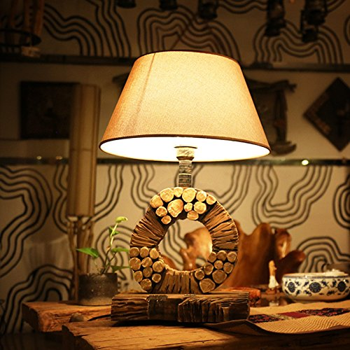 Retro Living Room Table Lamp Villa Study Solid Wood Bedroom Bedside Art Desk Lamp Light, 400X600Mm by GAW Lighting Co.Ltd (Image #1)