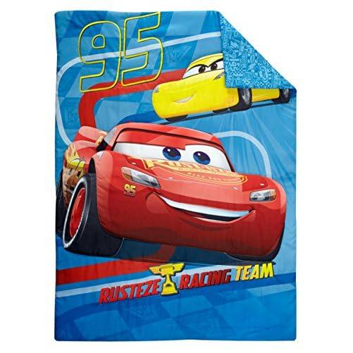 Disney Cars Rusteze Racing Team 4 Piece Toddler Bedding Set, Blue/Red/Yellow/White 4