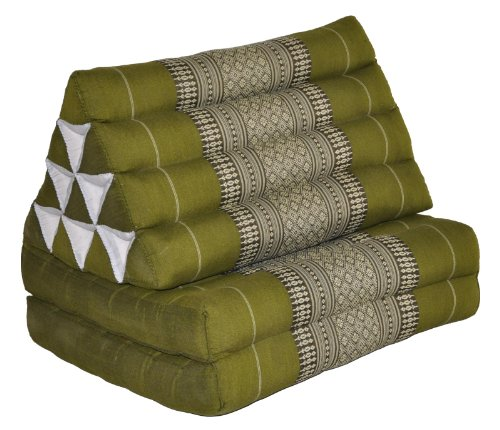 Thai triangular cushion with mattress 2 folds, green, relaxation, beach, pool, meditation garden (81802) by Wilai GmbH