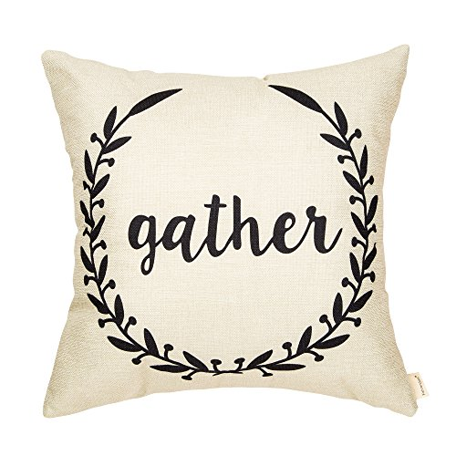 Fahrendom Rustic Gather Olive Branch Vine Wreath Vintage Country Style Retro Farmhouse Quote Gift Cotton Linen Home Decorative Throw Pillow Case Cushion Cover Words Sofa Couch 18 x 18 inch