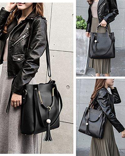 S-ZONE Bolso de hombro con tirantes en una bolsa real con bolsos en bandolera real negro