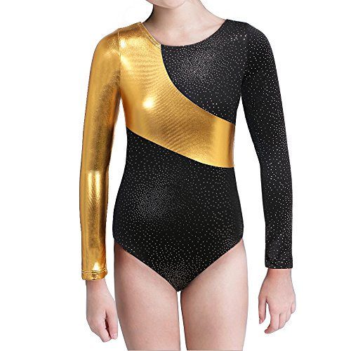 Long Sleeve Gymnastics Leotards for Girls Sparkly Dance Practice Costume (160(11-12Y), (Long Sleeve Leotard Costume)