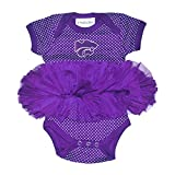 Two Feet Ahead NCAA Kansas State Wildcats Children Girls Pin Dot Tutu Creeper,6 mo,Purple
