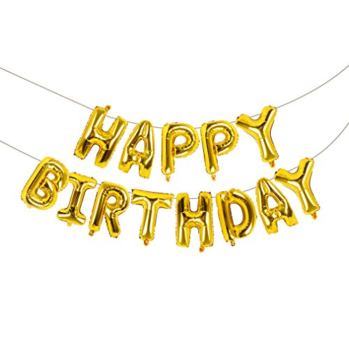 Happy Birthday Balloons Banner, Vocktops Foil Balloons Letters Balloons Mylar Balloons for Birthday Party Decoration(Gold)