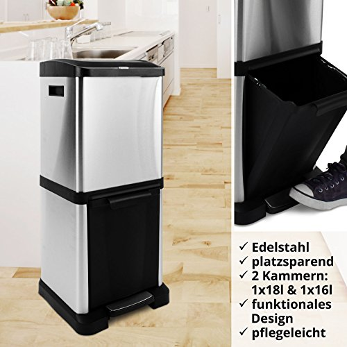 casa pura m lltrennsystem abfalleimer mit mehreren kammern in platzsparender vertikaler. Black Bedroom Furniture Sets. Home Design Ideas