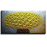 """Gincleey Hand Painted 3D Oil Paintings On Canvas, Stretched Framed Yellow Artwork Ready Hang Flower Landscape Modern Abstract Art for Living Room Bedroom Office Wall Decor Home Decoration 20""""W x 40""""L"""