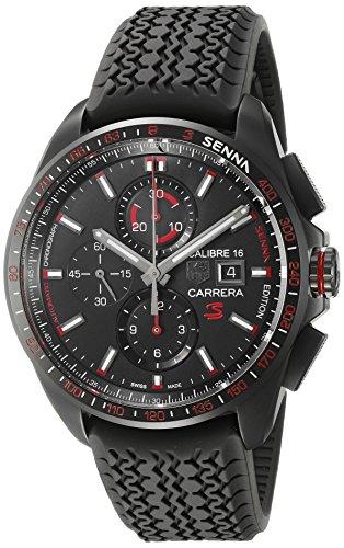 TAG Heuer Men's 'Carrera Senna' Swiss Automatic Titanium and Rubber Dress Watch, Color:Black (Model: ()