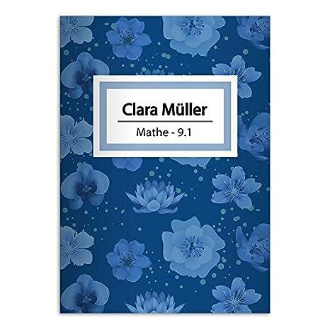 Kartenkaufrausch 4 schö ne DIN A4 Schulhefte, Schreibhefte mit leichten Blü ten, blau Lineatur 27 (liniertes Heft)