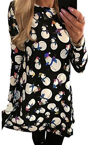 Top Navidad de Vestido G de Mujer de Festivo Vestido Campanas la largas Impreso oscilación Pan Regalos Santa para Coctel abullonado Mangas Jengibre de Fiesta Scothen de Vestido Novedad de Olaf q76n811F