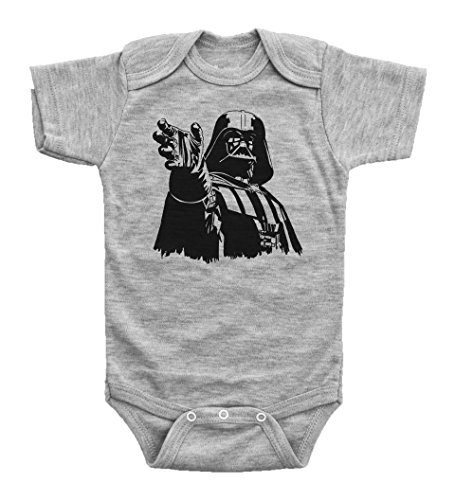 Star Wars Inspired Baby Bodysuit / DARTH VADER / Unisex Baby Outfit / Baffle (6M, GREY (Darth Vader Body Suit)