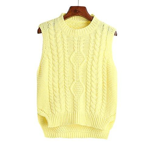 ヶ月目もう一度薄いformanism カジュアル 編み柄 ソリッドカラー ラウンドネック スリット キュート ベスト レディース