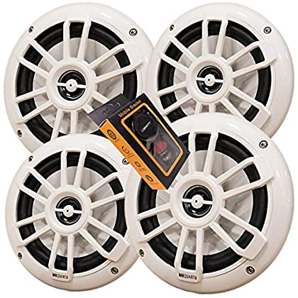 Image of 2 Pairs of MB Quart NF1-116 Nautic Series 6-1/2' Shallow-Mount Marine Speakers with White Grilles + Gravity Magnet Phone Holder Coaxial Speakers