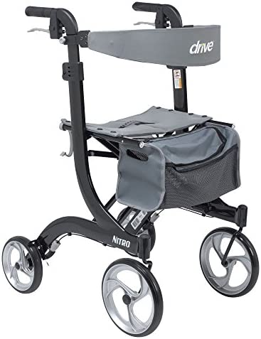 Drive Medical Nitro Euro Style Rollator Walker, Tall Height, Black