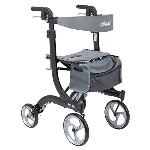 Drive Medical RTL10266BK-T Nitro Euro Style Walker Rollator, Tall, Black
