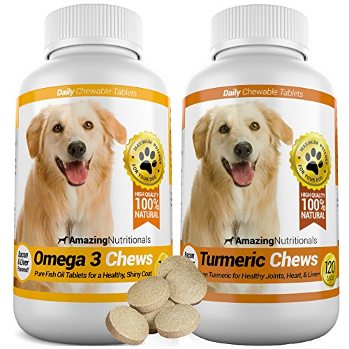 Amazing Combo Omega-3 Fish Oil and Turmeric Curcumin for Dogs - Pure All-Natural Pet Antioxidant - Promotes Shiny Coat, Brain Health, Eliminates Diarrhea Gas and Joint Pain, 120 Tasty Chews x 2