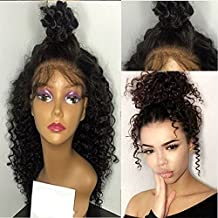 Freyja Hair 8A Unprocessed Peruvian Lace Front Virgin Hair Wigs Kinky Curly Full Lace Human Hair Wigs shipping by DHL(8 inch,1B)