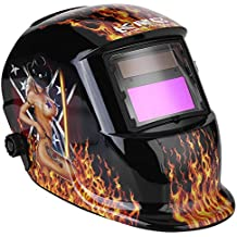 Auto Darkening Welding Helmet Solar Powered 3.62×1.65in/9.2×4.2cm SUPER VIEW TIG MIG Welder Protective Mask with Adjustable Shading DIN9-13 Face Protector for Manufacturing Hot Girl Design