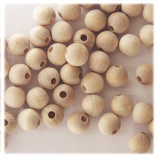 8mm Round Wood Beads Unfinished Hardwood Raw Large Hole. Made in USA pk/50 ()