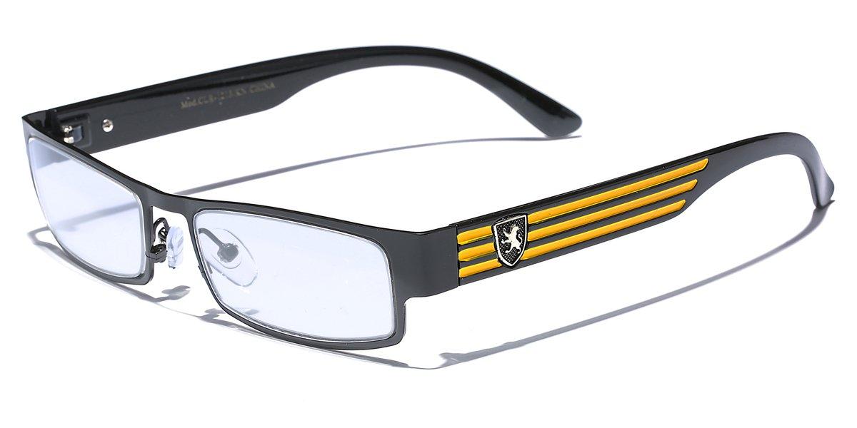 Khan Clear Lens Fashion Glasses Rectangular Frame Mens Womens Metal Half Rim