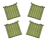 """Set of 4 - Indoor / Outdoor Green, Brown, Ivory Geometric Universal 2"""" Thick Foam Seat Cushions with Ties for Dining Patio Chairs - Choose Size (19 1/2'' x 18 1/2'')"""