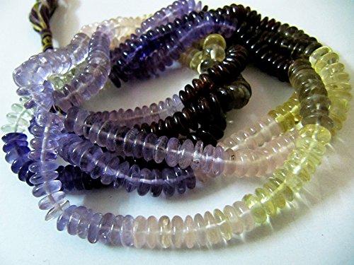 (Natural German Cut Multi Beads / Smooth Rondelle Amethyst, Citrine, Smoky, Lemon Quartz Beads / 8-9mm Size Beads / Length 8