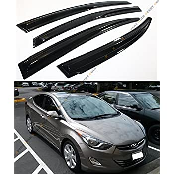 Cuztom Tuning 3D Wavy Shape Style Smoke Tinted Window Visor Vent Shade for 2011-2016 Hyundai Elantra Sedan