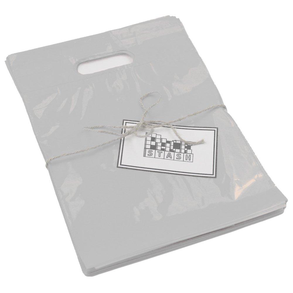 PackStash (50 Qty) 36'' x 24'' x 6'' White Retail Merchandise Plastic Shopping Bags (Gigantic) - Premium Tear-Resistant Film, Double Thick Handles, Vibrant Glossy Finish
