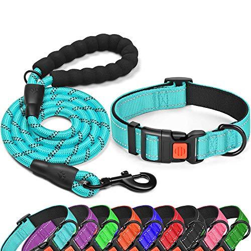 "tobeDRI Reflective Nylon Dog Collar – Soft Neoprene Padded, Reflective and Adjustable – Dog Collars for Small Medium Large Dogs (Collar+Leash M-Neck 15""-18"", Blue)"